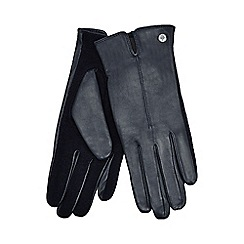 J by Jasper Conran - Navy knitted palm leather gloves with wool