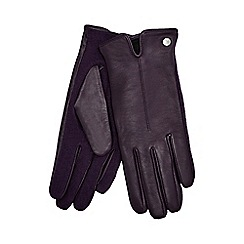 J by Jasper Conran - Purple knitted palm leather gloves with wool