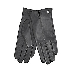 J by Jasper Conran - Grey knitted palm leather gloves with wool