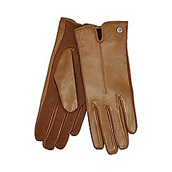 J by Jasper Conran - Tan knitted palm leather gloves with wool