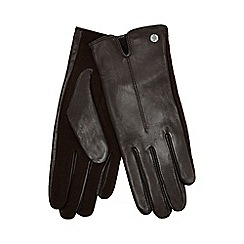 J by Jasper Conran - Dark brown knitted palm leather gloves with wool