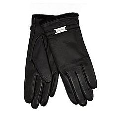 J by Jasper Conran - Black faux fur lined leather gloves