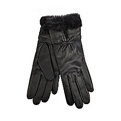 J by Jasper Conran - Black faux fur trim leather gloves