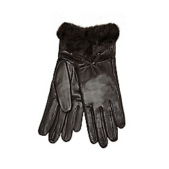 J by Jasper Conran - Dark brown faux fur cuff leather gloves