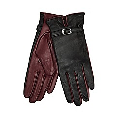 J by Jasper Conran - Black buckle detailed leather gloves