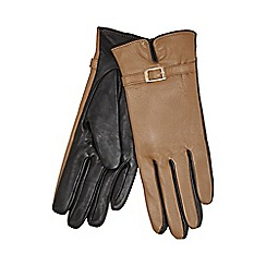 J by Jasper Conran - Tan buckle detailed leather gloves