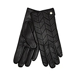 J by Jasper Conran - Black chevron quilted leather gloves