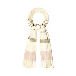 J by Jasper Conran - Cream striped scarf with wool