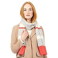 J by Jasper Conran - Dark peach striped cashmere scarf
