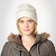Cream Stitched Fleece Hat
