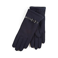 Isotoner - Ladies Navy Thermal Gloves with Bow Detail