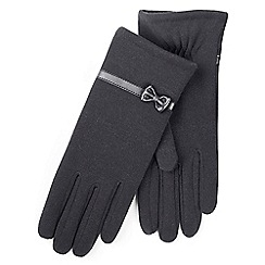 Isotoner - Ladies Black Thermal Gloves with Bow Detail