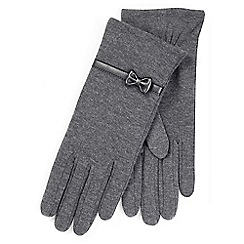Isotoner - Ladies Grey Thermal Gloves with Bow Detail