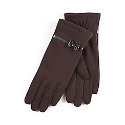 Isotoner - Ladies Chocolate Thermal Gloves with Bow Detail