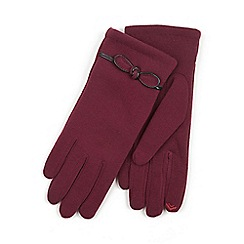 Isotoner - Ladies Dark Red Smartouch Glove with Bow Detail