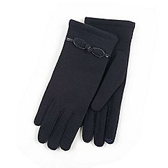 Isotoner - Ladies Navy Smartouch Glove with Bow Detail