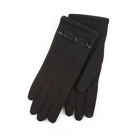 Isotoner - Isotoner Ladies Black Smartouch Glove with Bow Detail