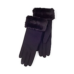 Isotoner - Ladies Black Faux Fur Cuff Thermal Glove