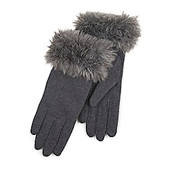Isotoner - Ladies Grey Faux Fur Cuff Thermal Glove