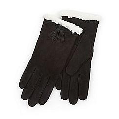 Isotoner - Ladies Black Genuine Suede Glove with Plait & Tassel