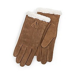 Isotoner - Ladies Tan Genuine Suede Glove with Plait & Tassel
