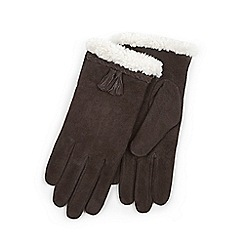 Isotoner - Ladies Chocolate Genuine Suede Glove with Plait & Tassel