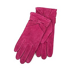 Isotoner - Ladies Dark Pink Genuine Suede Glove with Bow Detail