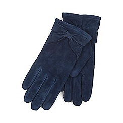 Isotoner - Ladies Navy Genuine Suede Glove with Bow Detail