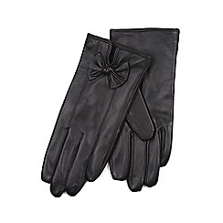 Isotoner - Ladies Black Leather Glove with Bow Detail