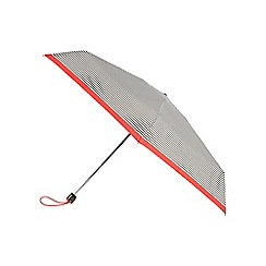 Isotoner - Miniflat Cream Stripe with Scarlet Border Print Umbrella