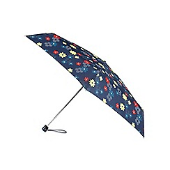 Isotoner - Miniflat Dotty Stripe Flowers Print Umbrella