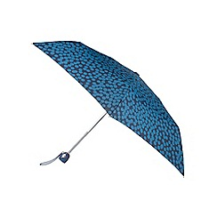 Isotoner - Auto Open/Close Thin Large Blue Speckle Dot Umbrella