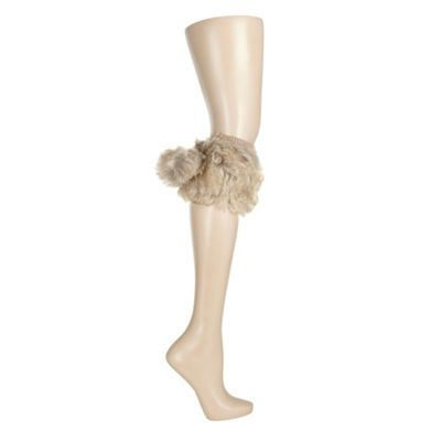 Natural faux fur boot cuff leg warmers