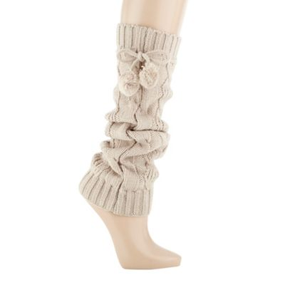 Natural cable knitted leg warmers
