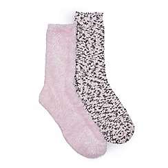 Isotoner - Ladies Pink Untreaded Bedsox (Twin Pack)