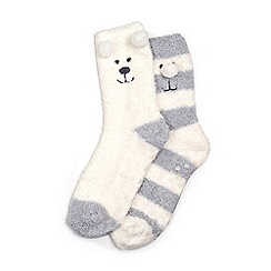Isotoner - Ladies Cream Supersoft Slipper Socks (Twin Pack)