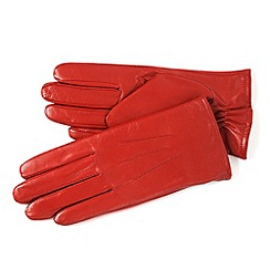 Isotoner - Red 3 point leather gloves