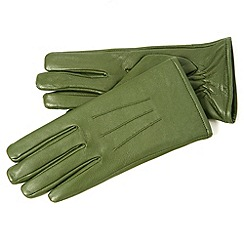 Isotoner - Green 3 point leather gloves
