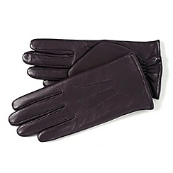 Isotoner - Dark purple 3 point leather gloves