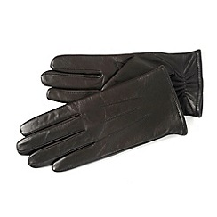 Isotoner - Chocolate brown 3 point leather gloves