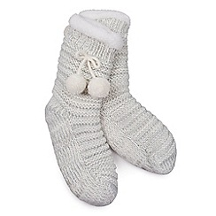 Isotoner - Ladies Grey Chunky Knit Pom Pom Socks