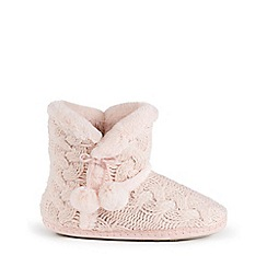 Isotoner - Ladies Pink Cable Knit Boot Slippers