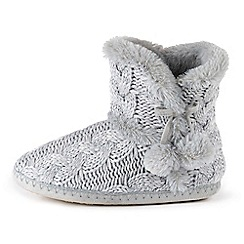 Isotoner - Ladies Grey Cable Knit Boot Slippers