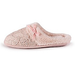 Isotoner - Ladies Pink Cable Knit Mule Slippers