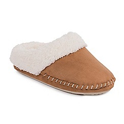 Isotoner - Ladies Tan Suedette Mule Slippers