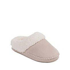 Isotoner - Ladies Natural Suedette Mule Slippers