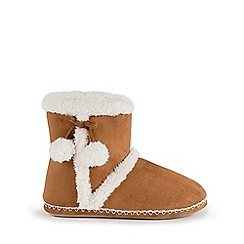 Isotoner - Ladies Tan Suedette Bootie Slippers