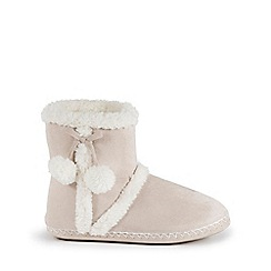 Isotoner - Ladies Natural Suedette Bootie Slippers