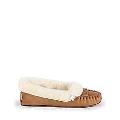 Isotoner - Ladies Fringed Suedette Moccasin Slippers
