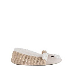 Isotoner - Ladies Beige Knit Back Novelty Ballet Slippers